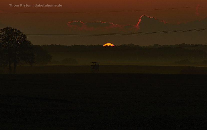 Spektakulärer Sonnenuntergang am Dakota Home, Brandenburg, Tinyhouse